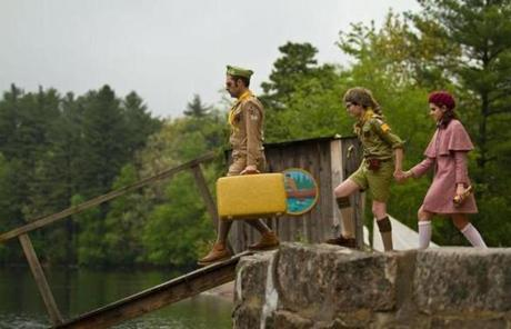 "Jason Schwartzman (left), Jared Gilman, and Kara Hayward in Wes Anderson's ""Moonrise Kingdom.''"
